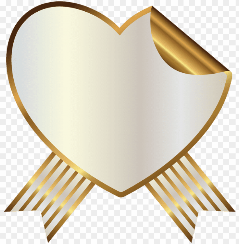 free PNG white and gold heart seal with ribbon png clipart image - heart banner ribbon PNG image with transparent background PNG images transparent