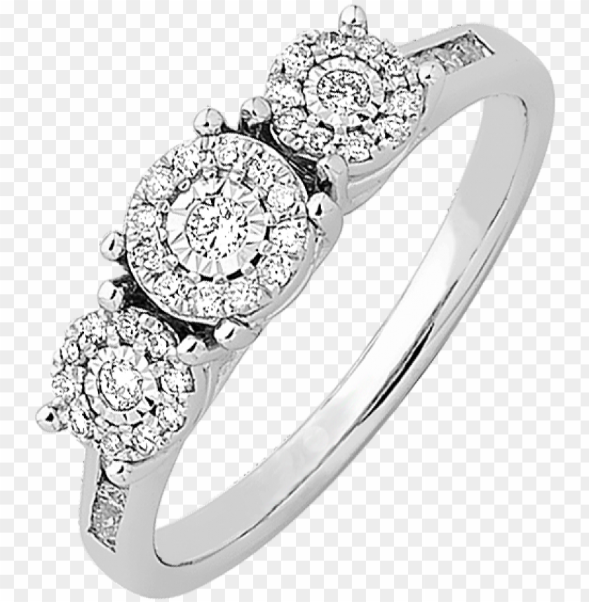 white gold diamond trilogy cluster ring - natalie k twist rings PNG image with transparent background@toppng.com