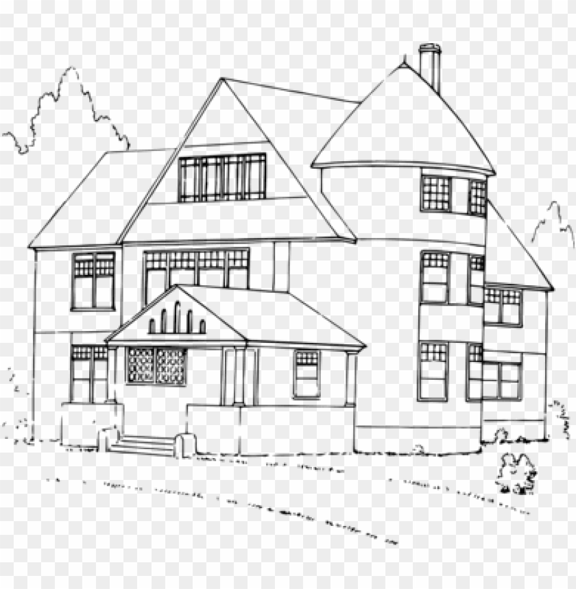 free PNG white house black and white drawing - house clipart black and white PNG image with transparent background PNG images transparent