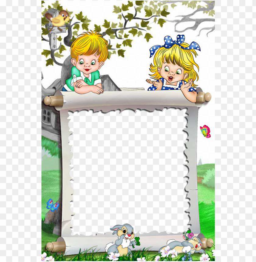 free PNG white kids transparent frame kids and bunnies borders - kids transparent photo frame PNG image with transparent background PNG images transparent