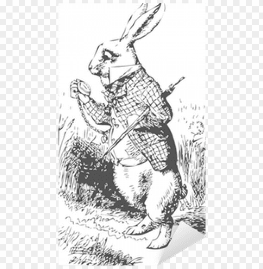 free PNG white rabbit with watch alice wonderland sticker • - alice in wonderland original white rabbit PNG image with transparent background PNG images transparent