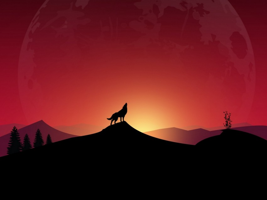 free PNG wolf, howl, loneliness, art, full moon background PNG images transparent