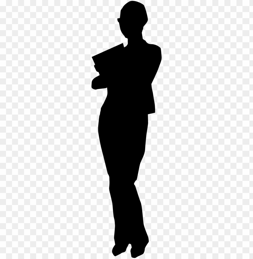 free PNG woman business assistant secretary black white drawing - person standing silhouette vector PNG image with transparent background PNG images transparent