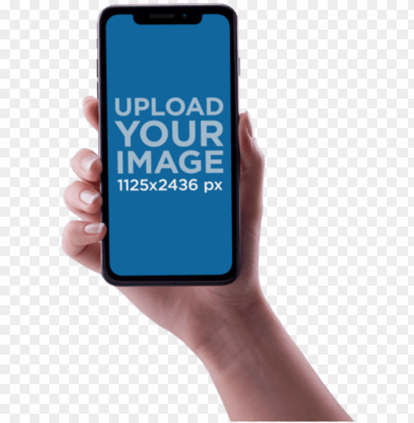 free PNG woman hand holding an iphone x mockup against a transparent - hand holding iphone x PNG image with transparent background PNG images transparent