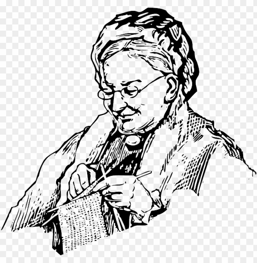 Woman Knitting Grandma Old Lady Knit Needles Grandma Black And White Png Image With Transparent Background Toppng