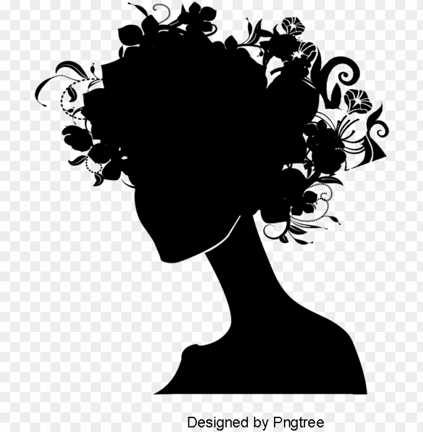 free PNG woman silhouette pattern vector material, woman vector, - women head flowers vector free PNG image with transparent background PNG images transparent