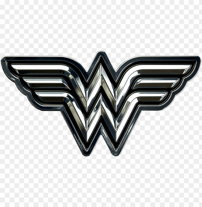 Wonder Woman Logo Chrome And Black Premium Emblem Wonder Woman Logo Png Image With Transparent Background Toppng