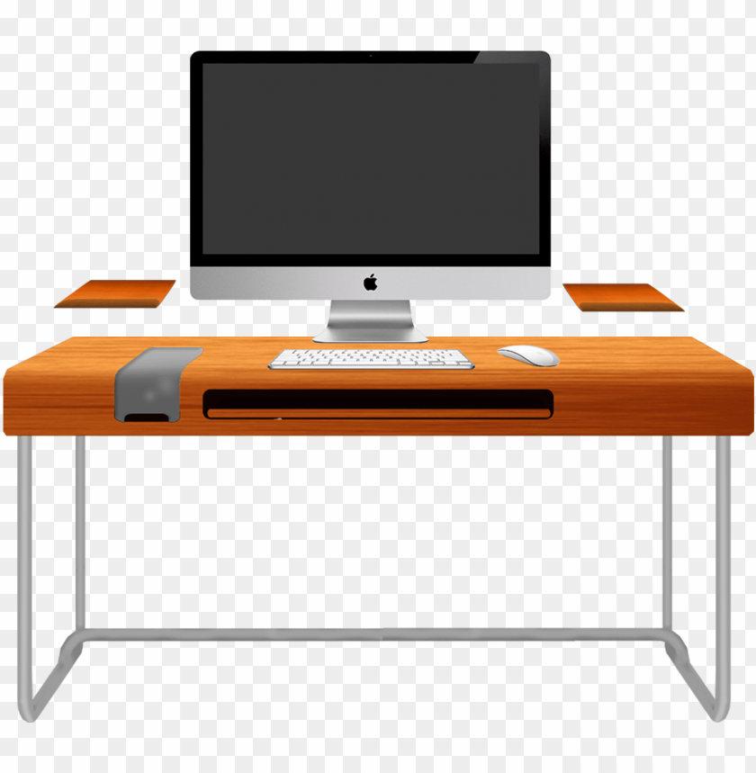 free PNG wood computer desk - computer on table cliparts PNG image with transparent background PNG images transparent