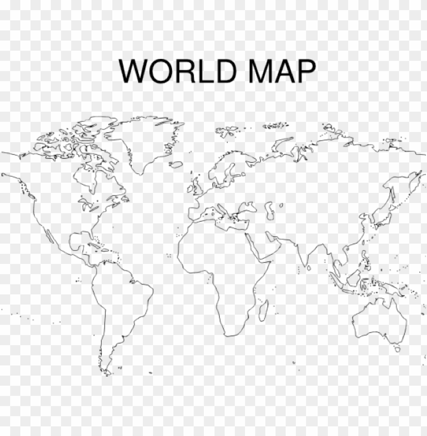 free PNG world map clipart dark outline world - high quality printable world map outline PNG image with transparent background PNG images transparent