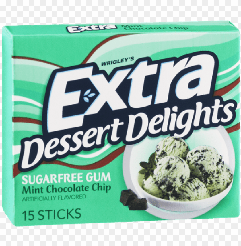 free PNG wrigley's extra dessert delights mint chocolate chip - extra mint chocolate chip gum PNG image with transparent background PNG images transparent