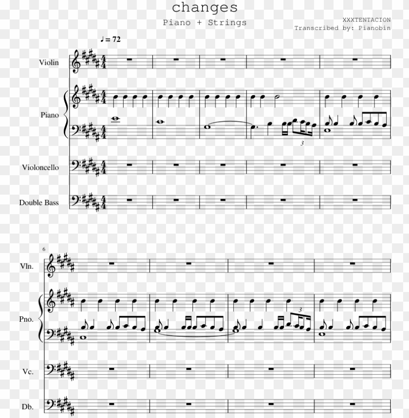 free PNG xxxtentacion sheet music for piano, contrabass download - changes by x piano sheet music PNG image with transparent background PNG images transparent