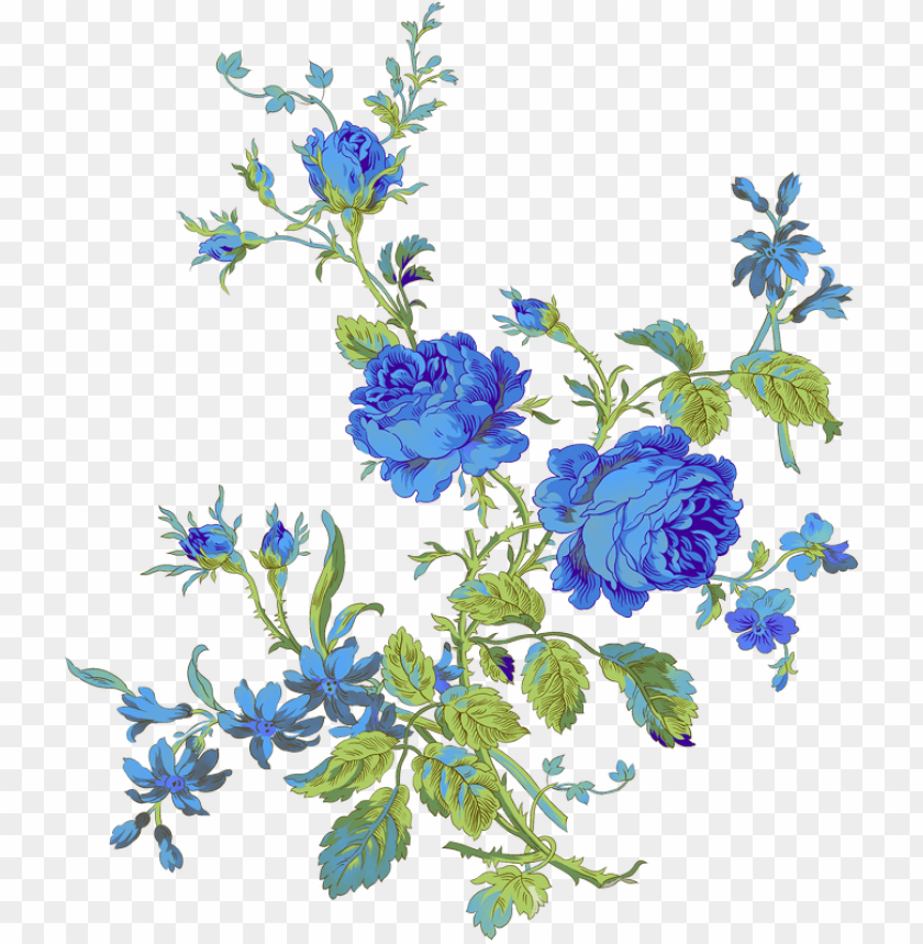 free PNG Яндекс - Фотки - - floral azul - blue rose vintage PNG image with transparent background PNG images transparent