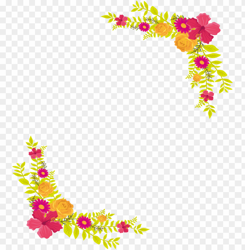 free PNG yellow flower border png - flower border png file PNG image with transparent background PNG images transparent
