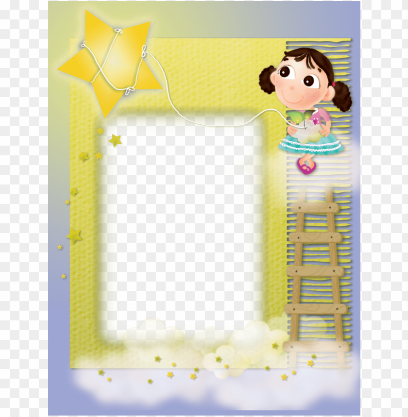 free PNG yellow kids transparent frame with girl and star background best stock photos PNG images transparent