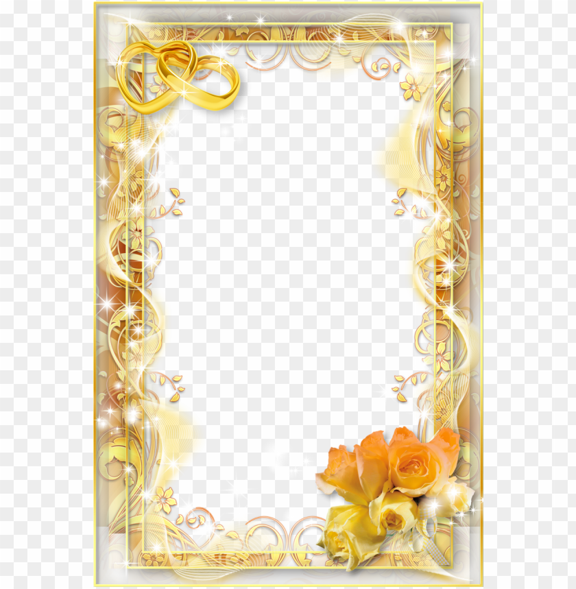 free PNG yellow wedding png photo frame - png wedding photo frames PNG image with transparent background PNG images transparent