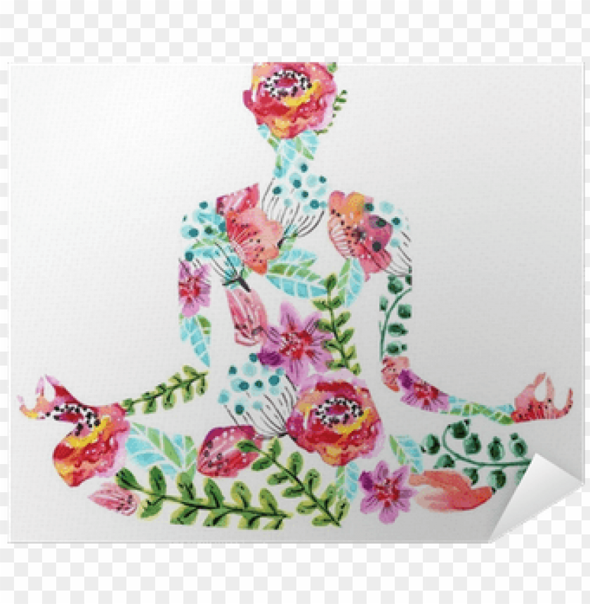 free PNG yoga pose, watercolor bright floral illustration poster - yoga illustration free PNG image with transparent background PNG images transparent