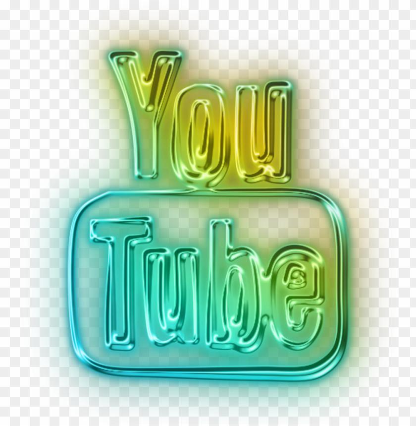 free PNG youtube logo 2010 neon led blue green yellow freetoedit - youtube logo png neo PNG image with transparent background PNG images transparent