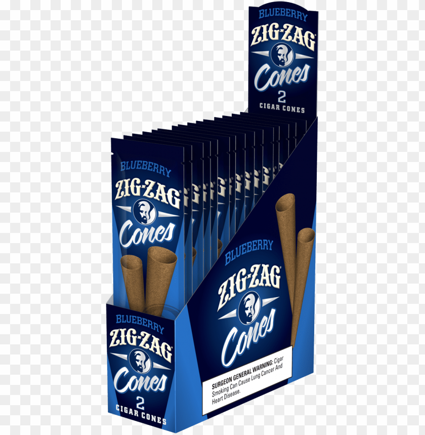 free PNG zig zag cones blueberry 2ct x 15pouches - zig zag blunt cones PNG image with transparent background PNG images transparent